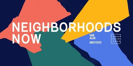 Neighborhoods Now banner, on a multi-colored background
